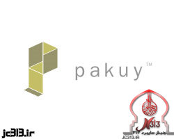 نمادها در لوگوها - لوگوی شرکت ها - لوگوی شرکت بسته بندی Pakuy که جعبه ی باز شده در لوگو حرف P را نشان میدهد